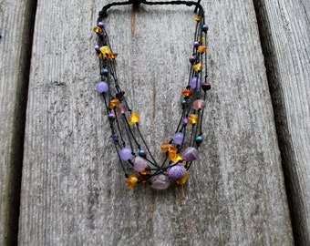 Raw Gemstone Amethyst Necklace Agate Fluorite Pearls Amber Natural Stones Necklace Lavender Purple Lilac Pink Honey Yellow Birthstone
