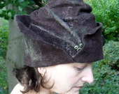 Felted Radagast Hat - MADE TO ORDER - dark brown distressed