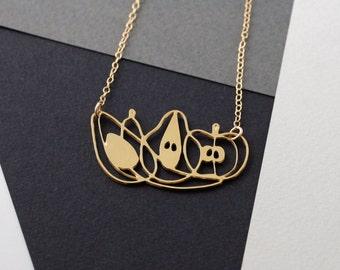 fruit necklace, vegetarian jewelry, vegan jewelry, fruit, fruit jewelry, food necklace, food jewelry, gift for her