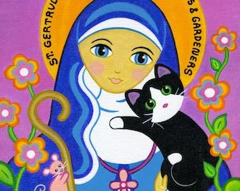 Saint GERTRUDE of Nivelles & CAT Art PRINT From Original Painting by Jill