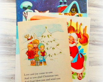 Vintage Children's Christmas Book Pages / 5 Pages / Scrapbook Ephemera / Daily Planner / December / Journal Supply
