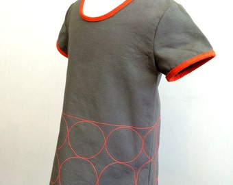 Circle Dress in grey and orange