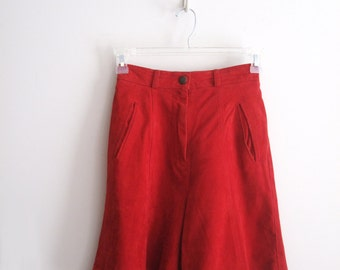 Vintage High Waisted Red Suede Shorts, Grunge High Waisted Red Suede Shorts, SALE
