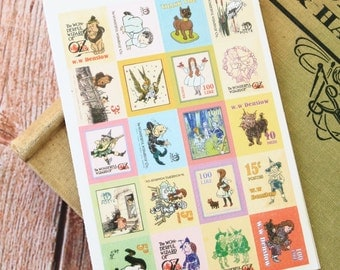 vintage style WIZARD of OZ Tiny Stamp stickers