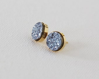 Shimmering Blue Natural Druzy Stud Earrings - Gold or Sterling Silver
