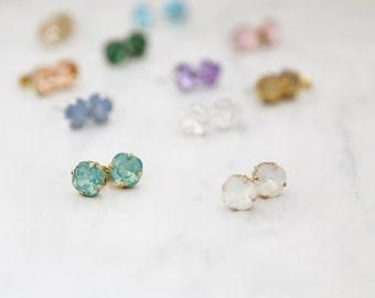 Square Sparkling Swarovski Studs - Eleven color choices