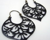 Black copper earrings with japanese floral pattern sterling silver hooks