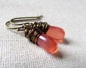 Strawberry Pink Glass Earrings, Pink Opal, Czech Glass, Dainty Teardrop Earrings, Antiqued Brass, Wire Wrapped, Small Glass Earrings