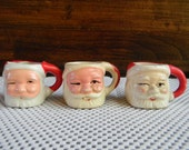 Holidays Vintage Santa Holiday Decor collectible miniature ceramic mugs christmas tablesetting