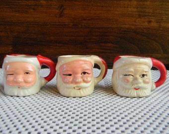 Holidays Vintage Santa Holiday Decor collectible miniature ceramic mugs christmas tablesetting