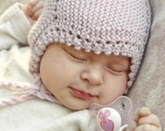 Knit baby hat. Knitted baby bonnet. Newborn to 18 months. Light dusty pink or pick your color. Baby Shower. Photo prop. Picot edge.