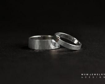 HandHammered 2gether Sterling Silver Rings Set
