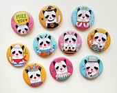 "Set of 10 - Oh! Panda 1.75"" (44mm) Button Badge - Encouragement Love Birthday Friendship Halloween Pin Bdage - Happy Pinning"