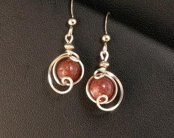 Dark Wine Red Muscovite Silver Drop Earrings, Small Russian Muscovite Stone Wire Wrapped Dangle Earrings, Unique Wire Art Earrings