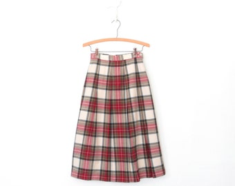 60s Campus Skirt * Plaid Pleated Skirt * 1960s Wool Tartan Skirt * XS