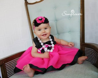 Pink Minnie Dress: pink & white polka dots with black lined tutu dress, easy on and off wrap around, birthday party or vacation, comfortable
