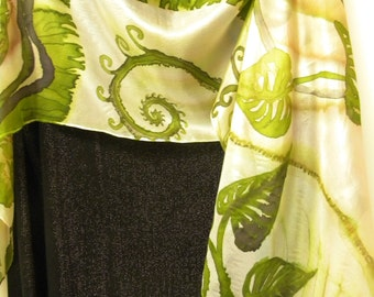 Hand painted art silk scarf with leaf and fern motifs in moss green & ivory. Painted by artist, one-of-the-kind piece of wearable art.