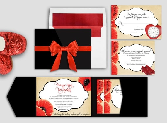 Wizard of Oz Poppy Wedding Invitation Set - Deposit
