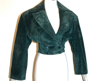 AZZEDINE ALAIA Vintage Green Suede Crop Jacket Double Breasted Bolero - AUTHENTIC -