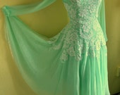 Custom Couture Mint Silk Chiffon and Floating Lace Dress Long Sleeve Sheer Sexy Formal Gown Available in Any Color for Wedding Bridal