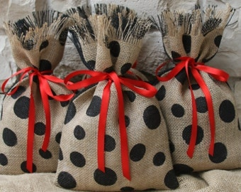 Burlap Gift Bags, Set of Four, Red Ribbon, Shabby Chic, All Occasion Gift Wrapping, Black & Natural, Polka Dot, Valentines Day, Christmas.