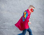 Red and Turquoise Cape - Custom letter for boys, girls, children, Kid Halloween Costume - Choose from 12 different Color options