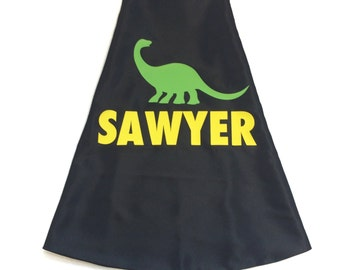 BLACK and YELLOW Dino Cape - Personalize with your name -  with your Cape