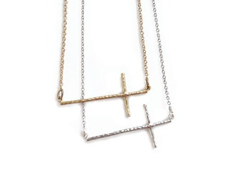 Gold Sideways Cross Necklace, Side Cross Necklace, Skinny Cross Necklace