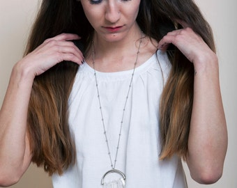 Clear Quartz Necklace, Raw Crystal Quartz Point Necklace, Statement Jewelry