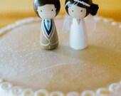 Kokeshi  WEDDING CAKE TOPPER  Custom Kokeshi Doll Wooden Wedding Cake Topper Kokeshi Cake Topper Peg Doll Wedding Decor