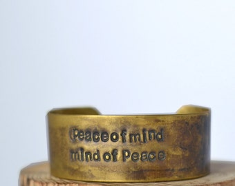 PRICE REDUX peace of mind handstamped CUFF/ Bracelet