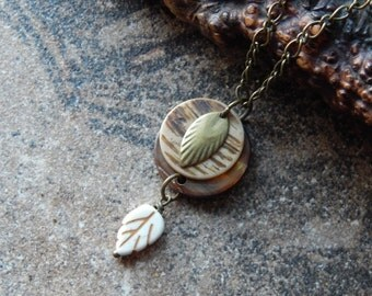 Seashell necklace,stone leaf pendant, woodland leaves,  beachy boho shells, mermaid necklace, brown,cream, earth tones, natural,rustic beach