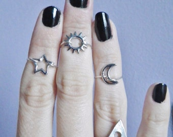 Sun Moon or Star midi ring, regular or above the knuckle ring, thin, minimalist design