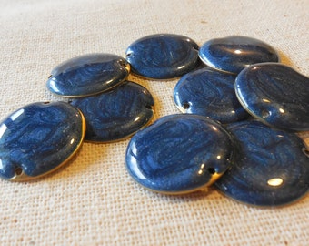 Irridescent Midnight Blue Enamelled Brass Disc Connectors (9) 20mm, Boho, Minimalist, Nature