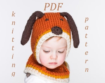PDF Kipper the Dog Hat and Mittens Knitting Pattern