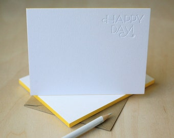 Letterpress Edge Painted Notecards - Happy Day Notes