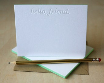Letterpress Notes with Edge Painting - Hello Friend Letterpress Stationery, Thank You Notes, Blind Impression, Notecards