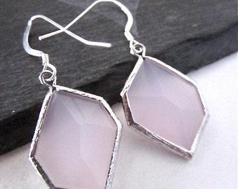 Light Pink Glass Earrings -- Light Rose Earrings -- Light Pink Dangles -- Pink Geometric Earrings -- Light Pink Earrings -- Pink Drops