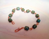 Handmade Turquoise and Copper Wire Bracelet Custom Length Birthday Anniversary Valentines