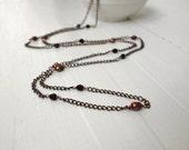 Rustic bracelet necklace brown copper freshwater pearls black glass versatile elegant ooak