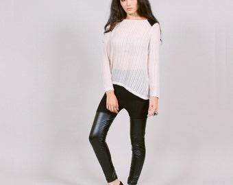 Vegan leather leggings - shiny faux thigh hi minimalist goth fashion M