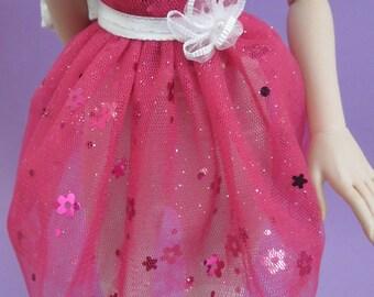 Pink Flower Glitter Tulle Skirt for MSD SD Ball Jointed Doll
