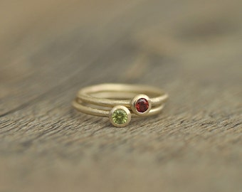 Mother's Rings, Birthstone Stacking Rings, 3mm Gemstones, 14 Karat Gold