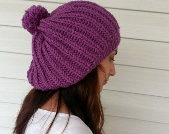 Knit Slouchy Hat, Slouchy Beanie, Women Hat, Hand Knitted Hat, Slouchy Hat, Beret, Purple Hat, Pompom Hat, Gift under 25