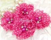 4 pcs Aubrey: HOT PINK w/ White Small polka DOTS Patterned - Soft Chiffon with pearls and rhinestones Mesh Layered Small Fabric Flowers.
