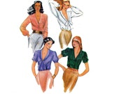 80s Blouse pattern Butterick 6775 Vintage Sewing Pattern Size 10 Bust 32 1/2 inches UNCUT Factory Folded