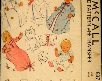 1930s Baby Layette Sewing Pattern McCall 537 Printed Vintage Sewing Pattern ONE SIZE UNCUT Factory Folds