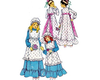 60s Girls Peasant Dress & Pinafore Apron Pattern Mail Order 5916 Vintage Sewing Pattern Size 3 - 4 Breast 23 inches UNUSED Factory Folds