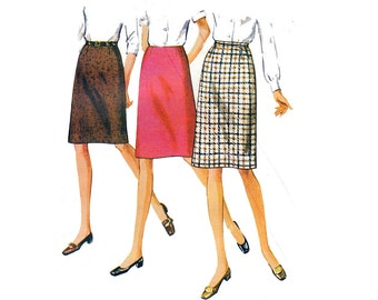 70s Straight Skirt Pattern Simplicity 8313 Proportioned Skirts with Waistband Vintage Sewing Pattern Waist 25 1/2 inches UNCUT Factory Folds
