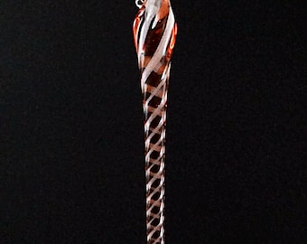 Icicle Ornament Glass Christmas Ruby White
